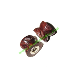 Handmade Fancy Wooden Beads, size 12x14mm, weight approx 1.86 grams