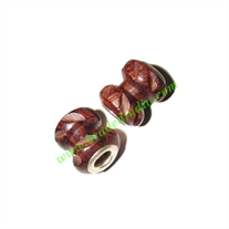 Handmade Fancy Wooden Beads, size 13x15mm, weight approx 1.48 grams