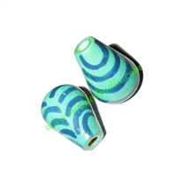 Wooden Painted Beads, Fancy Design Hand-painted beads, size 20x33mm, weight approx 4.3 grams