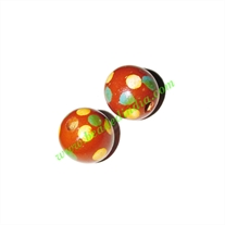 Wooden Painted Beads, Fancy Design Hand-painted beads, size 15mm, weight approx 1.4 grams