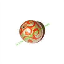 Wooden Painted Beads, Fancy Design Hand-painted beads, size 15mm, weight approx 1.3 grams