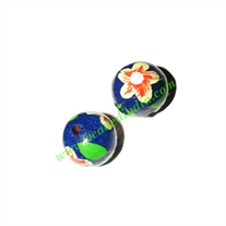 Wooden Painted Beads, Fancy Design Hand-painted beads, size 16mm, weight approx 1.4 grams