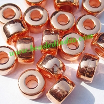 Metallic Plated Acrylic Beads, Copper Coated, size 6x11mm