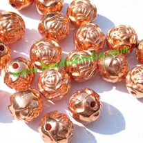 Metallic Plated Acrylic Beads, Copper Coated, size 10mm