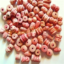 Carved wood beads, handcrafted assorted designs, assorted size, Pack of 1000 Pcs.