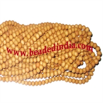 Wholesale natural kadam wood beads mala without knots, pack of 20 strings, size of beads 10mm