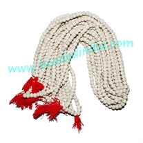 Wholesale dyed-colors beads mala without knots, pack of 20 strings, color white, size 6mm