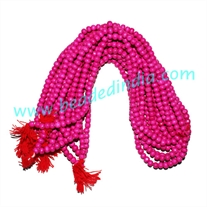 Wholesale dyed-colors beads mala without knots, pack of 20 strings, color pink, size 6mm