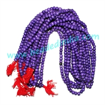 Wholesale dyed-colors beads mala without knots, pack of 20 strings, color blue, size 8mm