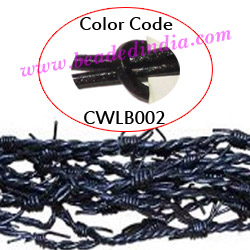 Barb Wire Leather Cords 2.5mm round, regular color - black.