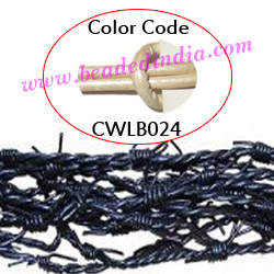 Barb Wire Leather Cords 2.5mm round, metallic color - silver.