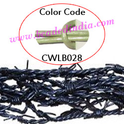 Barb Wire Leather Cords 2.5mm round, metallic color - lawn.