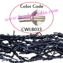 Barb Wire Leather Cords 1.5mm round, metallic color - steel grey.