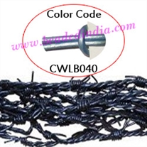 Barb Wire Leather Cords 1.5mm round, metallic color - ice blue.