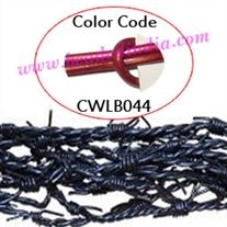 Barb Wire Leather Cords 1.0mm round, metallic color - regal red.
