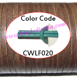 Leather Cords 6.0mm flat, regular color - mint green.