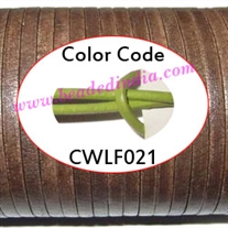 Leather Cords 1.5mm flat, regular color - parrot green.
