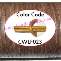 Leather Cords 2.0mm flat, metallic color - golden.