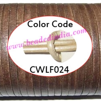 Leather Cords 1.5mm flat, metallic color - silver.