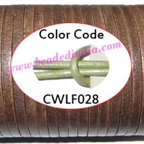 Leather Cords 1.5mm flat, metallic color - lawn.