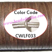 Leather Cords 6.0mm flat, metallic color - steel grey.