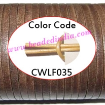 Leather Cords 4.0mm flat, metallic color - pale yellow.