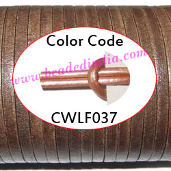 Leather Cords 6.0mm flat, metallic color - sand.