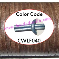 Leather Cords 5.0mm flat, metallic color - ice blue.