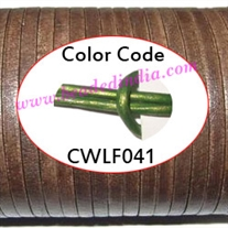 Leather Cords 2.0mm flat, metallic color - green.