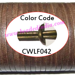 Leather Cords 2.0mm flat, metallic color - dark green.