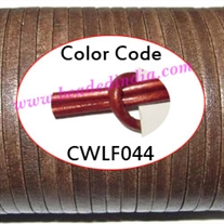 Leather Cords 4.0mm flat, metallic color - regal red.