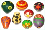 hand painted wood beads