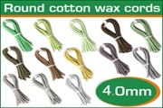 4.0mm (four mm) round cotton wax cords