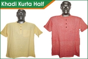 khadi kurta half sleeve for men