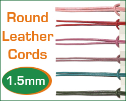 1.5mm (one and half mm) round leather cords