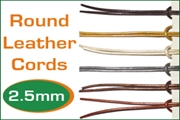 2.5mm (two and half mm) round leather cords