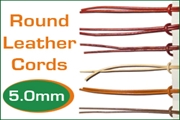 5.0mm (five mm) round leather cords