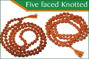 rudraksha five faced (5 mukhi) knotted beads mala