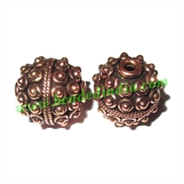 Copper Metal Beads, size: 17x16mm, weight: 6.99 grams.