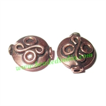 Copper Metal Beads, size: 13x12x5.5mm, weight: 1.49 grams.