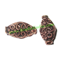 Copper Metal Beads, size: 17x9x8mm, weight: 1.97 grams.