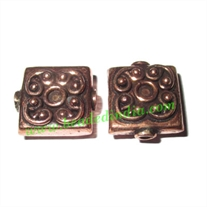 Copper Metal Beads, size: 16x14x7mm, weight: 3.74 grams.