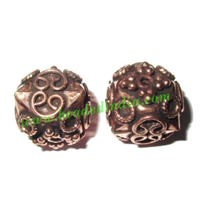Copper Metal Beads, size: 14x14mm, weight: 3.85 grams.