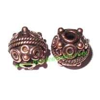 Copper Metal Beads, size: 12x13mm, weight: 4.31 grams.