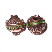 Copper Metal Beads, size: 13x13mm, weight: 2.85 grams.