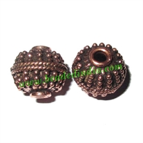 Copper Metal Beads, size: 15x14mm, weight: 4.34 grams.