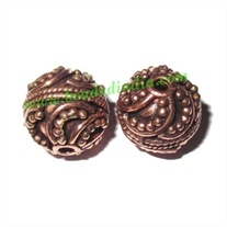 Copper Metal Beads, size: 12.5x12.5mm, weight: 3.69 grams.