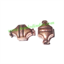 Copper Metal Beads, size: 12.5x7.5x5.5mm, weight: 0.65 grams.