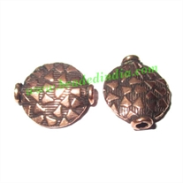 Copper Metal Beads, size: 14x12x3.5mm, weight: 0.97 grams.