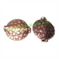Copper Metal Beads, size: 16x14x4mm, weight: 1.38 grams.